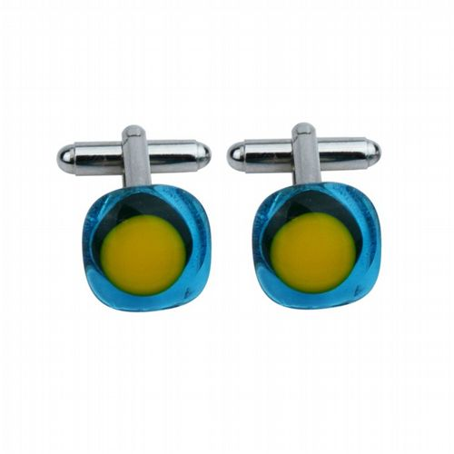 Glass Cufflinks - Blue & Yellow